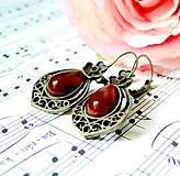 Náušnice - Vintage Teardrop with Ornaments Earrings / Bronzové náušnice v tvare slzy /0559 (Red Agate / Červený achát) - 8337261_