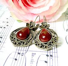 Náušnice - Vintage Teardrop with Ornaments Earrings / Bronzové náušnice v tvare slzy /0559 (Red Agate / Červený achát) - 8337259_