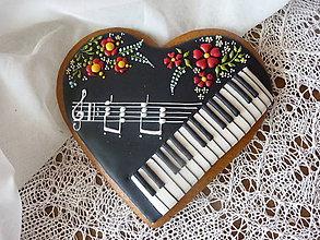Dekorácie - Srdce s hudobným motívom II - 8337552_