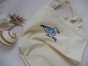 Nákupné tašky - Ráno pri mori (nákupka s ručnou výšivkou) - 8336551_
