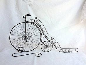 Dekorácie - velociped - retro bicykel so stuhou... - 8336007_
