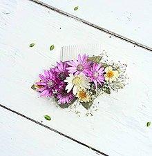 Ozdoby do vlasov - Hrebiebok zo sušených rastlín - 8337706_