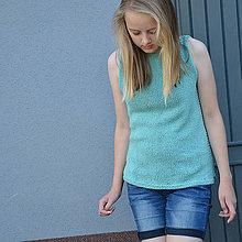 Topy - pletený top - pastel tyrkys - 8338566_