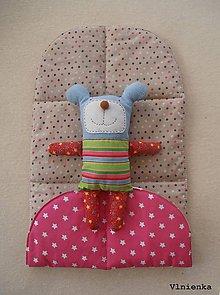 Textil - Vložka do kočíka ROAN Bass soft obojstranná Hviezdička ružová a Bodka režná - 8338603_