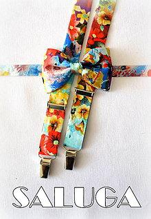 Doplnky - Pánsky kvetinový motýlik a traky - pestrofarebný - 8337147_