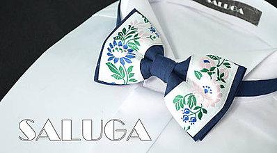 Doplnky - Folklórny pánsky modrý motýlik - folkový - ľudový - 8337719_