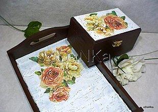 Nádoby - drevená sada - tácka + šperkovnica Ruža - 8338859_