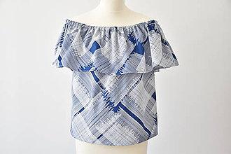 Topy - Modrá blúzka offsoulder - 8336636_