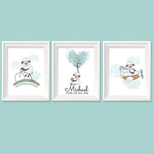 Detské doplnky - Tyrkysovo hnedá séria personalizovaný obrazov do detskej izby s ovečkami a údajmi Vaších ratolestí - 8336256_