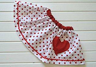 Detské oblečenie - Pískacia sukňa - bodkovaná, karkulkovská - 8337183_