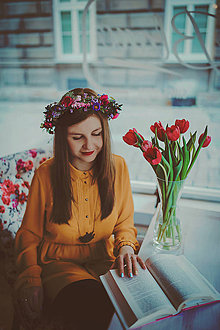 Ozdoby do vlasov - Kvetinový boho venček \