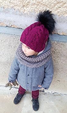 Detské čiapky - Bordová... - 8335672_