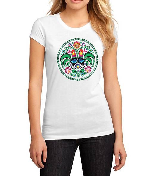 Tričko dámske farebné folk kvety kohúty