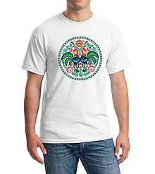 Oblečenie - Tričko pánske folk farebné kvety kohúty - 8341934_