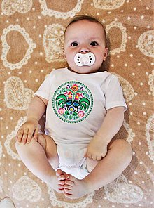 Detské oblečenie - Detské body  farebné folk kvety kohúty - 8341949_