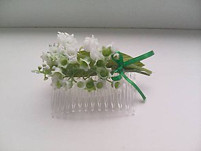 """Ozdoby do vlasov - Kvetinový hrebienok do vlasov """"...kytička konvaliniek..."""" - 8341000_"""