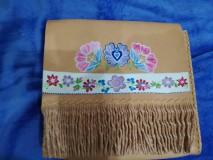 Kabelky - Kožená kabelka s ručne maľovaným ornamentom - 8339562_