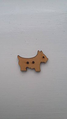 Galantéria - G115 Gombík drevený (psík 2,5 x 1,8 cm) - 8340049_