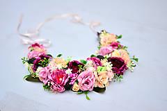 Náhrdelníky - Kvetinkový náhrdelník bordový - 8341993_