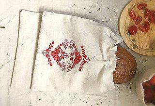Úžitkový textil - Podšité vrecúško na chlebík z ľanového plátna - 8339725_