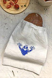 Úžitkový textil - Podšité vrecko na chlieb a pečivo z ľanového plátna - 8339760_