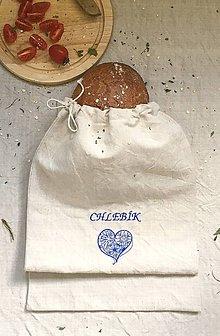 Úžitkový textil - Vrecko na chlieb z ručne tkaného ľanu 30x50 - 8339796_