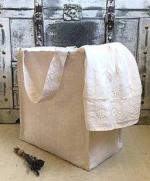 Košíky - Prenosný kôš na prádlo z ľanového plátna - 8341687_