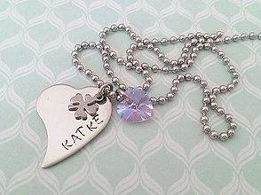Náhrdelníky - náhrdelník srdiečka so štvorlístkom - 8343974_