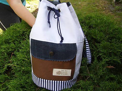 7ccfa9429e Ruksak letný-biela riflovina a koža   jamilla - SAShE.sk - Handmade ...
