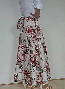 Sukne - Sukňa dlhá Bordové kvety na krémovej + šatka - 8343284_