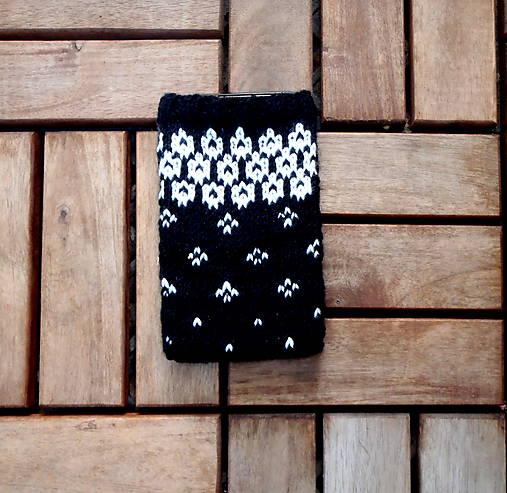 Obal na mobil čierny s bielym vzorom