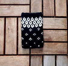 Na mobil - Obal na mobil čierny s bielym vzorom - 8344326_