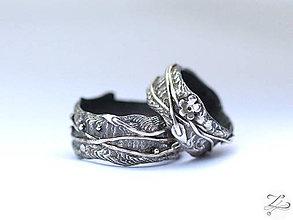 Prstene - Strieborné unikátne odlievané obrúčky - Šum prírody - 8343393_