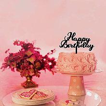 Dekorácie - Zápich na tortu Happy Birthday (Čierna) - 8342796_