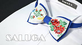 - Folklórny pánsky modrý motýlik - folkový - ľudový  - 8343107_