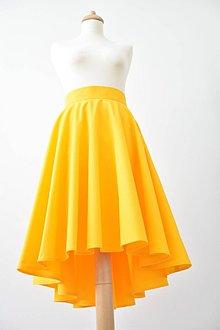 Sukne - žltá asymetrická kruhová sukňa - 8344670_