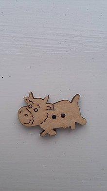 Galantéria - G115 Gombík drevený (krava 2,8 x 2,0 cm) - 8343006_