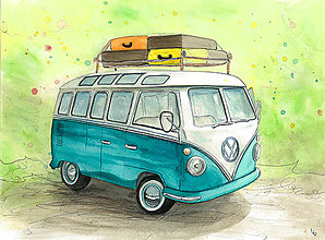 Obrázky - Volkswagen transporter, retro obrázok - 8342554_