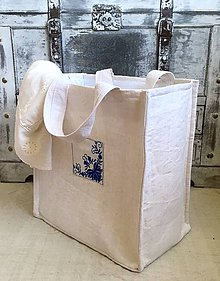 Košíky - Prenosný kôš na prádlo z ľanového plátna - 8343080_