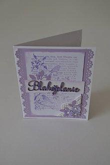 Papiernictvo - pohľadnica blahoželanie fialové - 8347617_