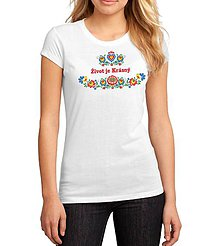 Tričká - Dámske tričko život je krásny folk kvety - 8345794_