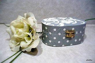 Krabičky - drevená šperkovnica Sivá - 8345421_
