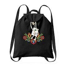 Batohy - Bavlnený festivalový ruksak, čierny, výšivka Vajnory - 8345430_