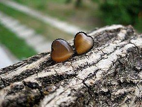 Náušnice - Mini srdiečka - mačacie oko (kávovo hnedé mačacie oko - napichovačky č.1037) - 8346749_