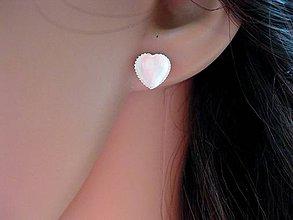 Náušnice - Mini srdiečka - mačacie oko (biele mačacie oko - napichovačky č.1038) - 8346782_