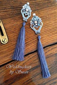 Náušnice - Modrasté strapce - 8346169_