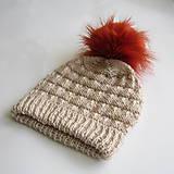 Detské čiapky - Zľava z 11e - Pletená čiapka béžová s kožušinovým brmbolcom - 8346524_