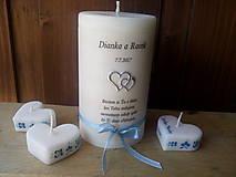 Darčeky pre svadobčanov - Svadobné sviečky  folklór s textom/modré - 8347814_