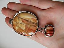 Náhrdelníky - Západ slnka - skamenené drevo, achát - 8348960_