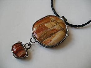Náhrdelníky - Západ slnka - skamenené drevo, achát - 8348962_